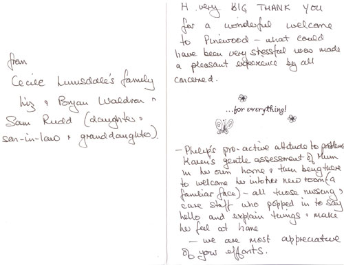 Testimonials Pinewood Residential Care Home